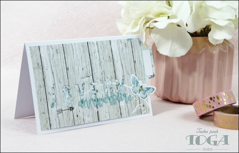 Carte Joyeux anniversaire collection Shabby Love DT Tacha 3p