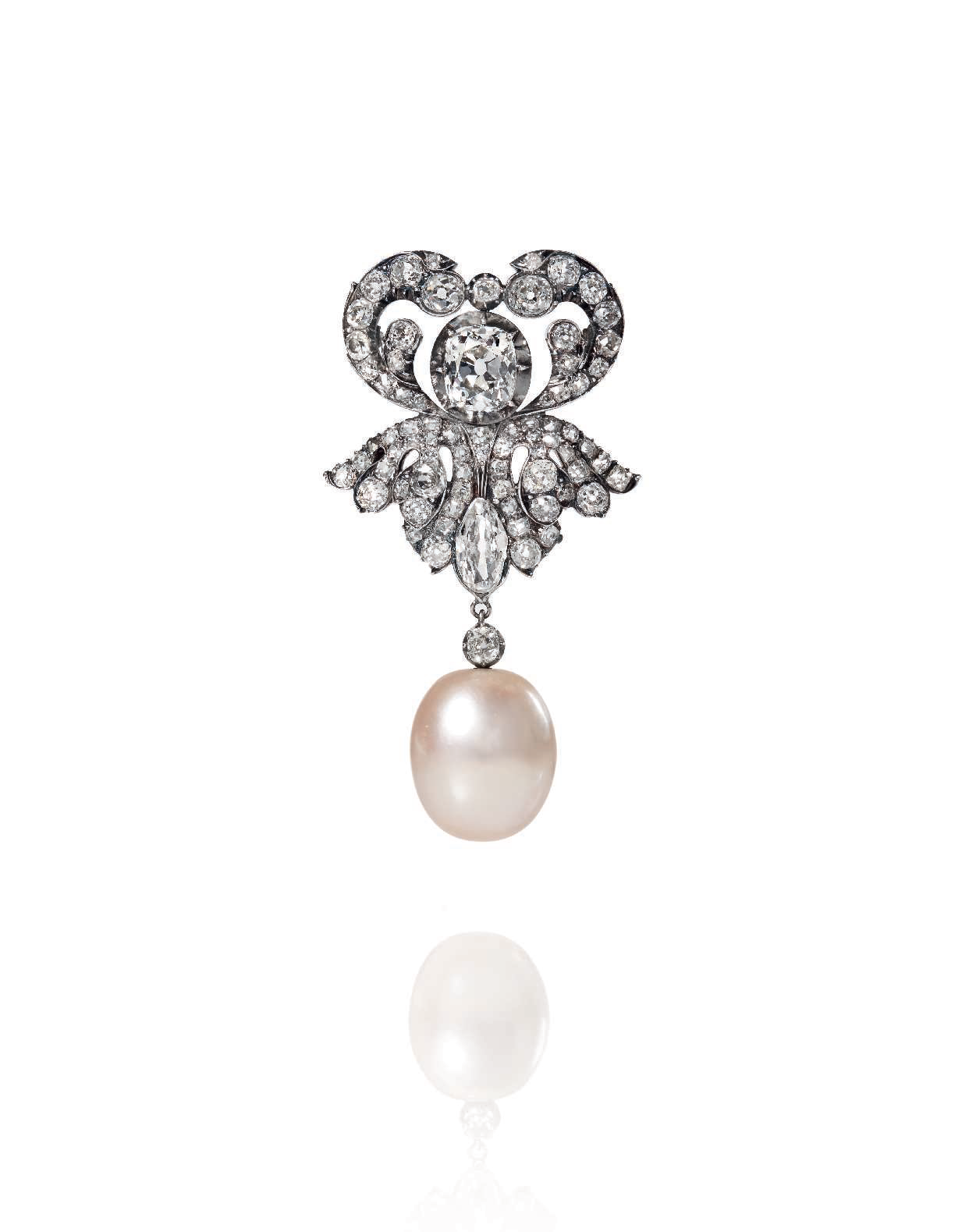 Broche perle fine et diamants