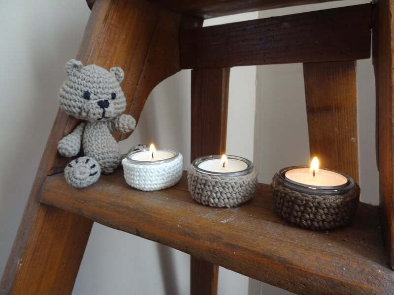 Cocooning pour bougies... avec tuto!