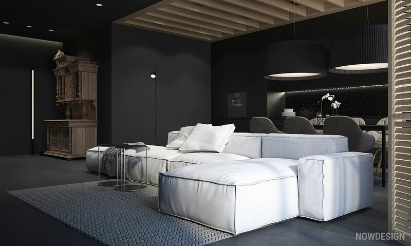 white-sofa-in-living-room-with-black-walls