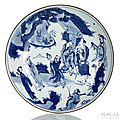 A blue and white immortal deep porcelain plate, China, marked yutang jiaqi, 17th century