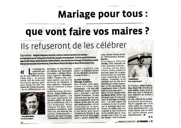 article mariage pour tous 9 juin 2013