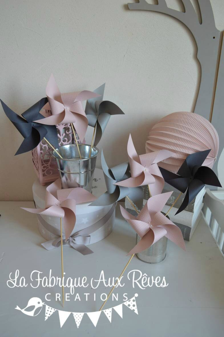 moulins vent rose p le rose poudr gris mariage photobooth bapteme baby shower d coration. Black Bedroom Furniture Sets. Home Design Ideas