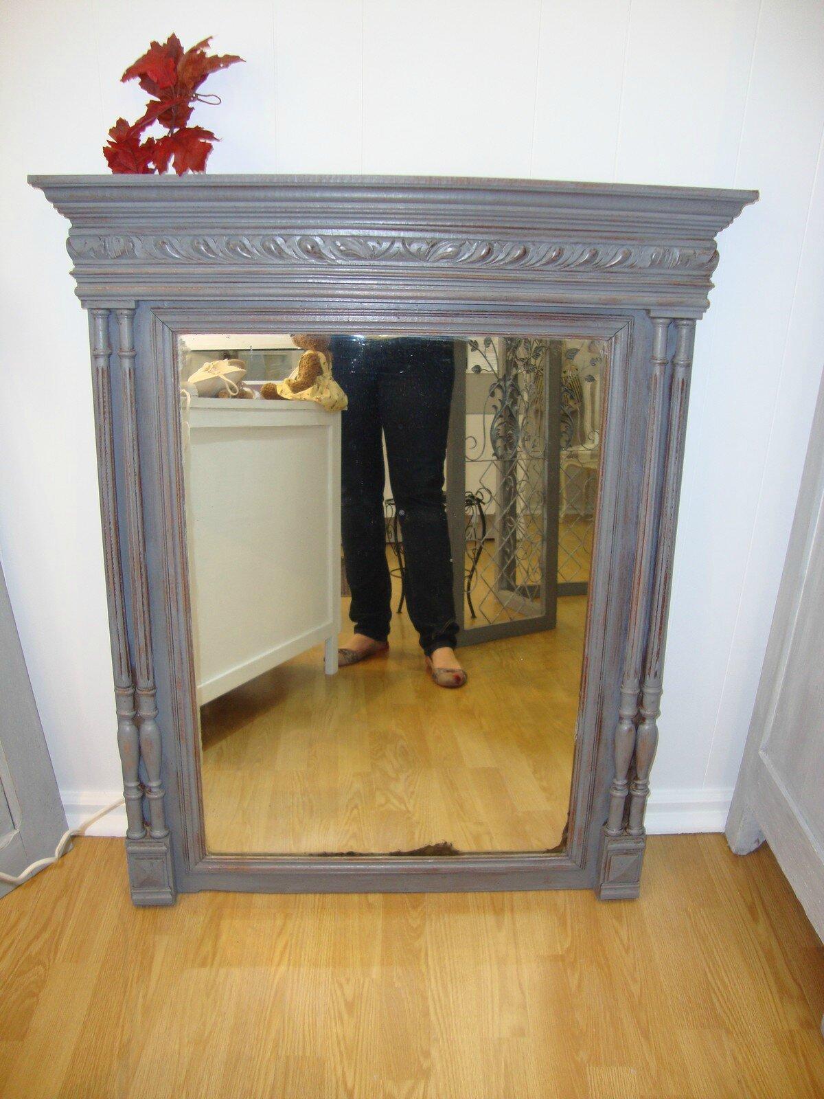 Trumeau miroir ancien taupe kr ative d co - Peindre miroir ancien ...