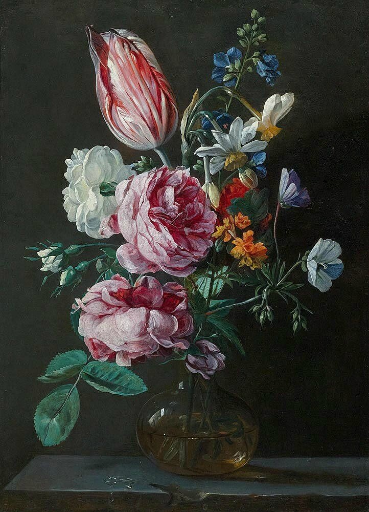 Jan van den Hecke The Elder (Kwaremont 1619/20 – 1684 Antwerp), A bouquet of flowers in a glass vase