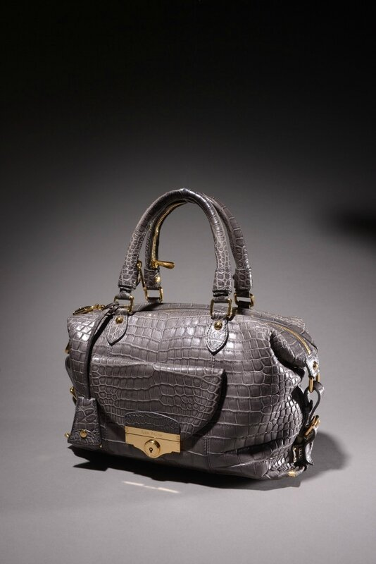 "Louis Vuitton. Sac ""Louis"" 36 cm en crocodile gris mat"