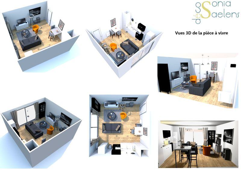 Am nagement d 39 un s jour avec coin cuisine sonia saelens d co for Amenagement coin cuisine
