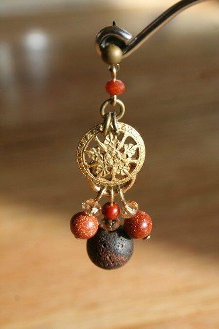 Boucles d'oreilles percées bouton ancien en Laiton ajouré