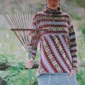 Fair-Isle Bias Pullover and Kerchief