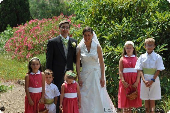 Mariés et enfants d'honneurs - Cortège vert et rose