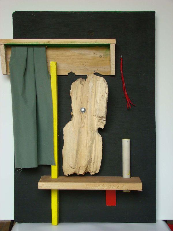 Regard 40 x 60 cm bois et tissu