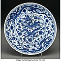 A Rare and Important Chinese Blue and White Dragon Dish, Ming Dynasty, Zhengde mark in underglaze blue within double circles and of the period, circa 1506-1521