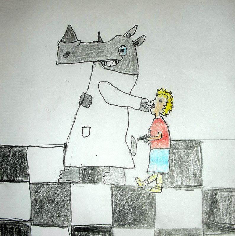 Illustration l otorhinoc ros la maison f erique for As tu un animal a la maison