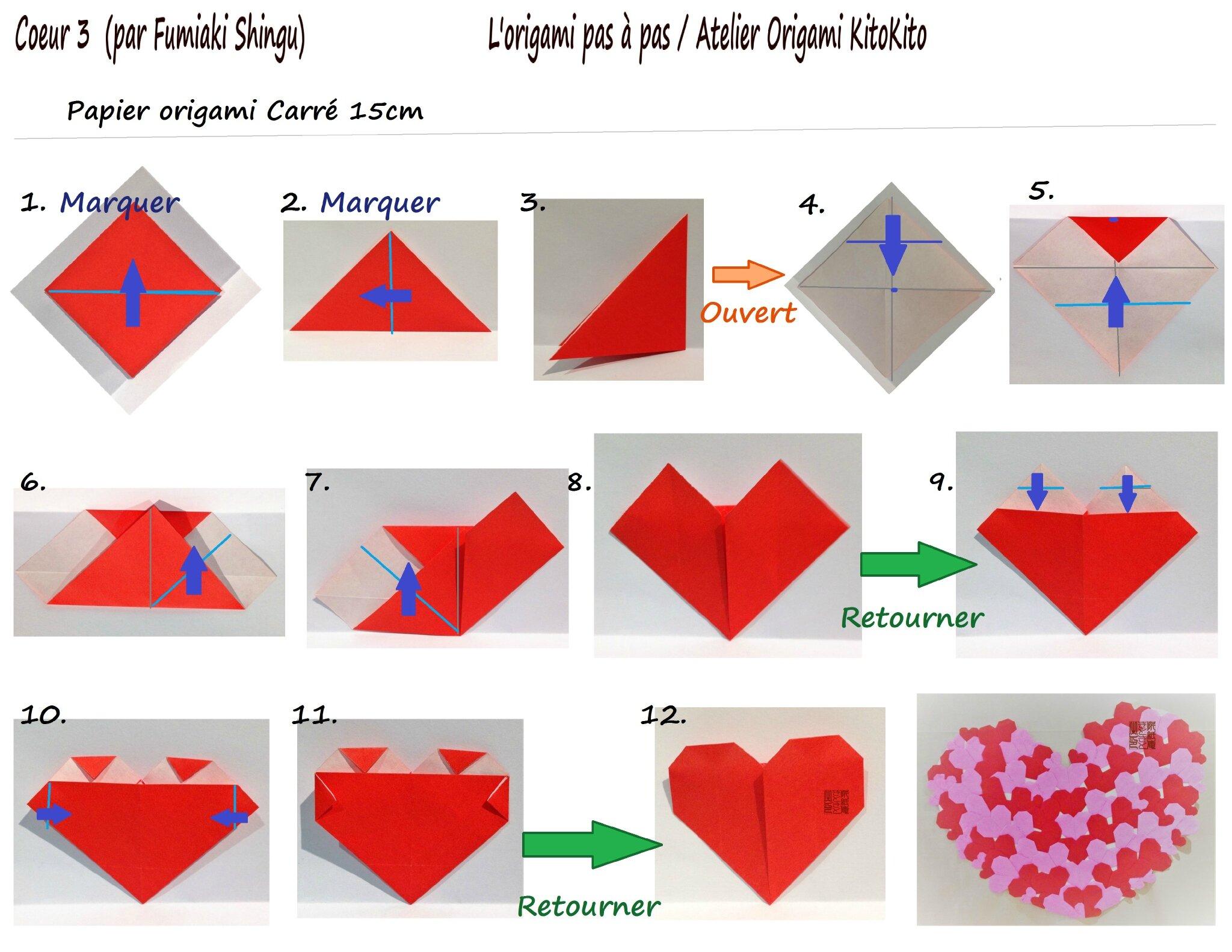 coeur facile coeur 3 pour la saint valentin 14 f vrier l 39 origami pas pas atelier origami. Black Bedroom Furniture Sets. Home Design Ideas