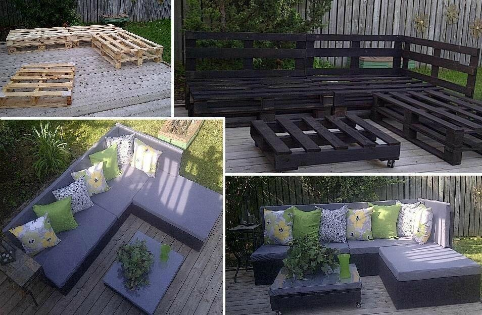transformation de palette en salon de jardin les petites gourmandises de elodie. Black Bedroom Furniture Sets. Home Design Ideas
