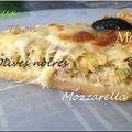 Quiche au thon/poireaux, olives noires, mozzarella