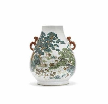 A famille rose 'hundred deer' vase, Hu, Qianlong seal mark, Late Qing Dynasty