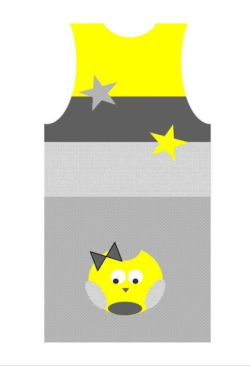 gigoteuse 6-12 mois gris jaune blanc hibou étoiles