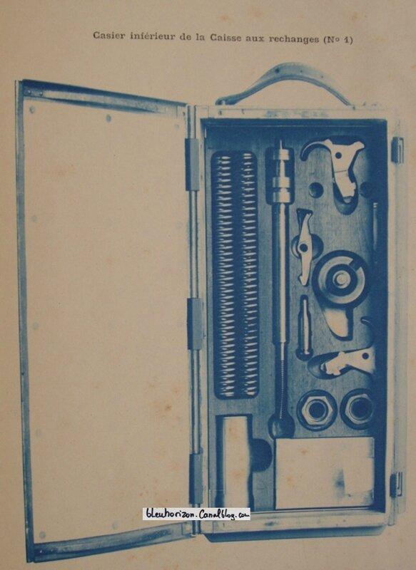 mitrailleuse saint Etienne 1907 avec détail des outils et accessoires