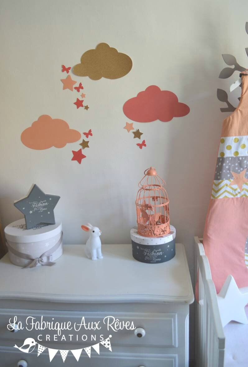 Stickers d coration chambre fille b b nuage toiles papillons p che corail saumon dor photo - Stickers chambre bebe nuage ...