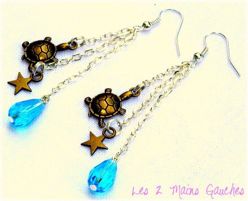 boucles d'oreille avec tortue, étoile et goutte turquoise