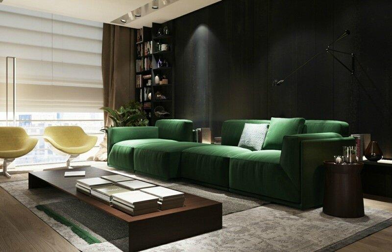canapé-vert-foncé-magnifique-fauteuils-design-table-ultra-basse