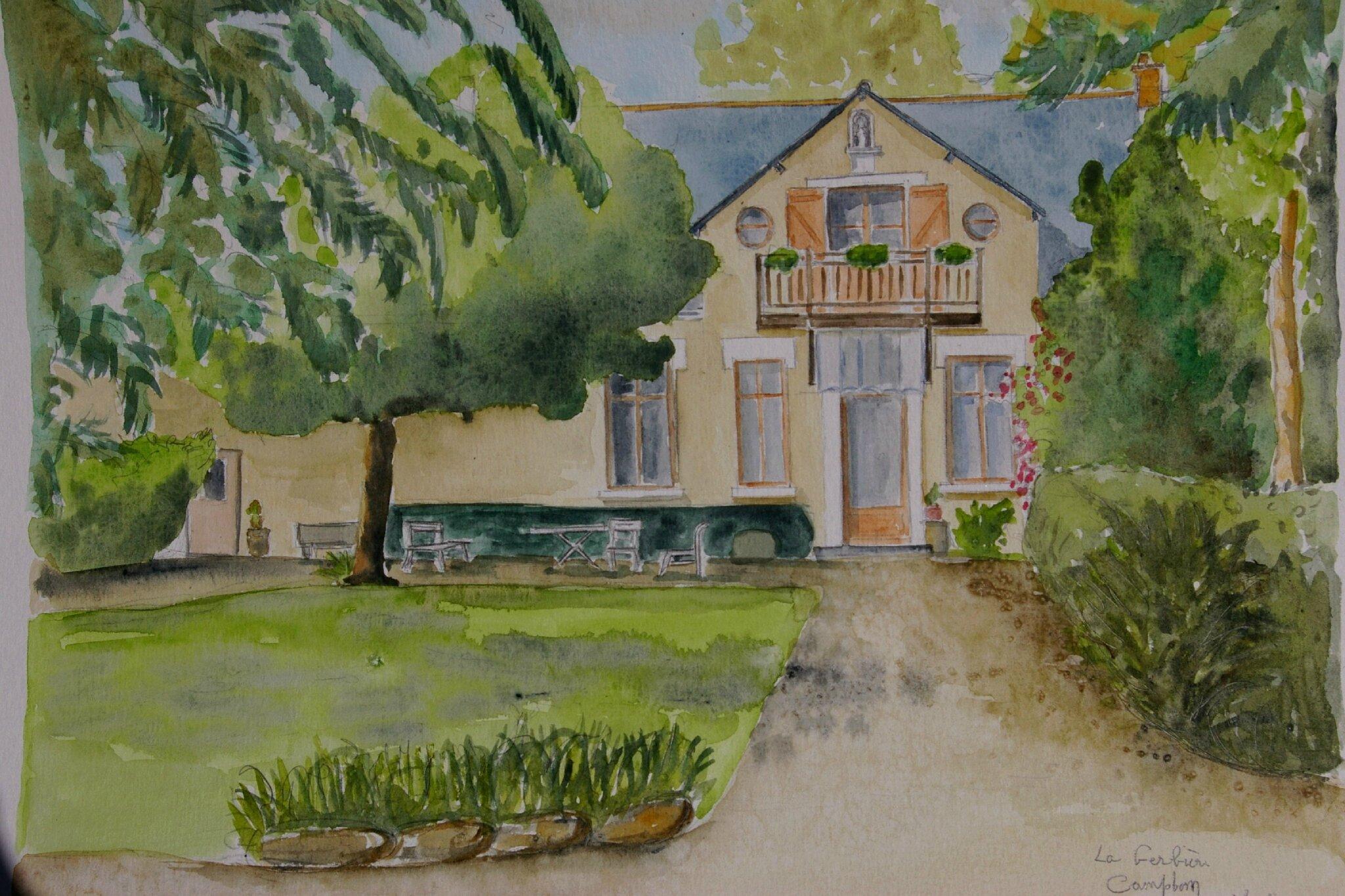 La gerbi re campbon loire atlantique aquarelle for Aquarelle maison