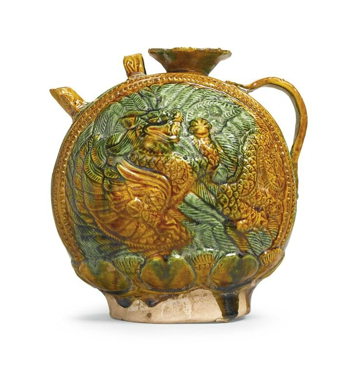 A sancai-glazed pottery 'Dragon' ewer, Liao dynasty
