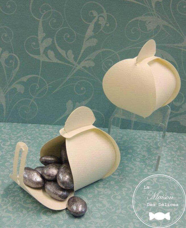 ballotin dragées mariage baptême ivoire amande chocolat avola pralino argent boite contenant berlingot