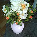pivoine blanche et rose orange