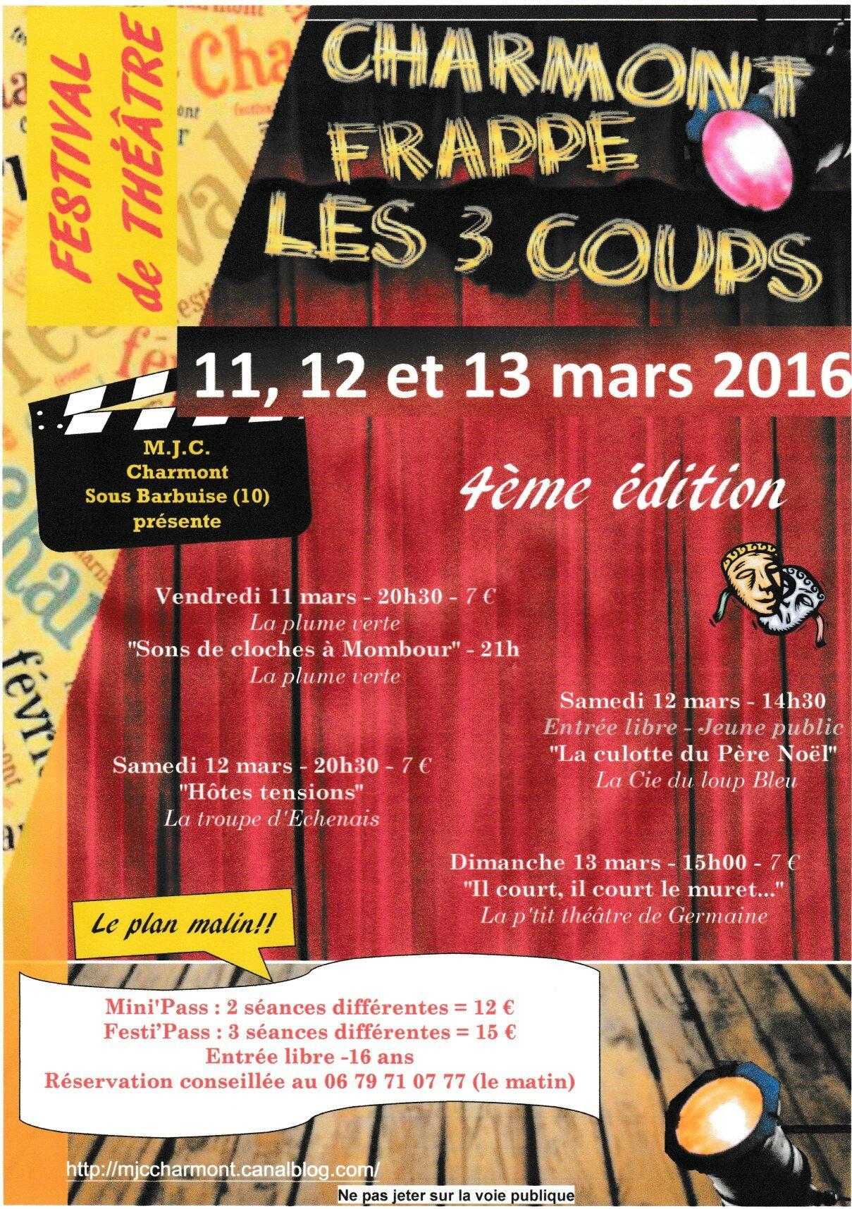 4ème festival de théâtre 11; 12 et 13 mars 2016