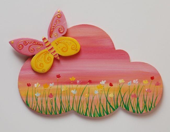 plaque de porte papillon jaune et rose