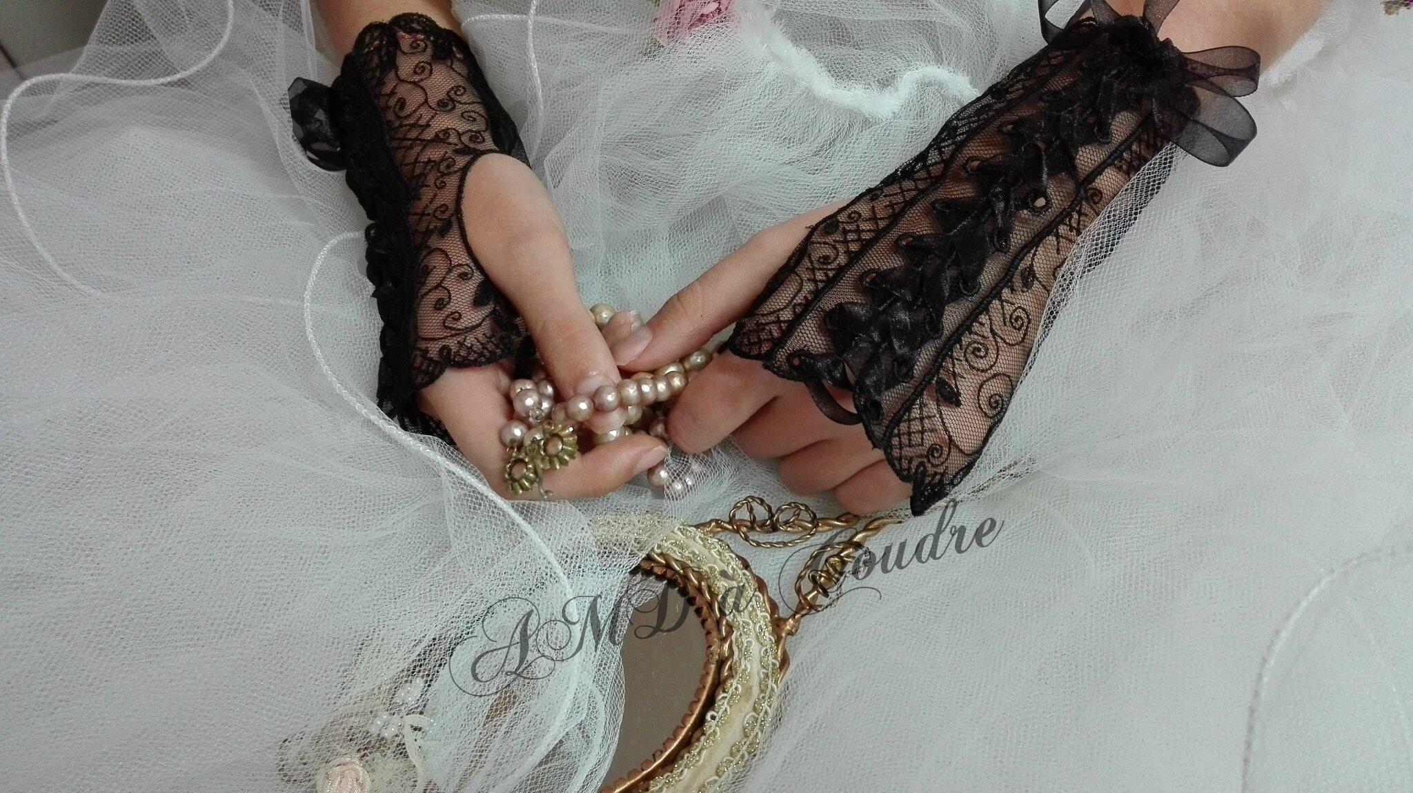 mitaines noire, gants de mariée, dentelle broderie amd a coudre (2)