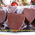 Coeurs au chocolat au lait fourrés à la ganache
