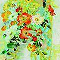 Lê phổ (1907-2001), jeune femme au bouquet de fleurs