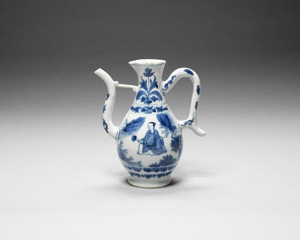 A blue and white ewer, Chongzhen