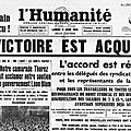 Les accords matignon 7 juin 1936