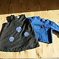 Ensemble robe trapèze/gilet cache coeur