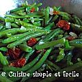 Salade de haricots verts et tomates séchées