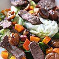 Salade de biche au potimarron, aux noisettes et aux châtaignes glacés