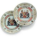 A pair of Chinese famille rose armorial plates for the Belgian market, Qianlong period, circa 1740