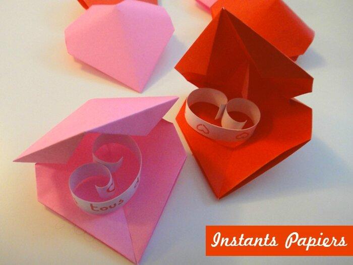 Coeur en origami origami heart instants papiers - Origami boite coeur ...