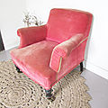 Fauteuil vintage velours rose sweety