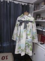 Manteau AGLAE en toile de coton imprimé jardins à la française - noeud de lin gris (2)