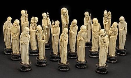 A_carved_ivory_set_of_Eighteen_Luohan