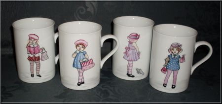peinture sur porcelaine mugs pour petites filles mod les made in m luse. Black Bedroom Furniture Sets. Home Design Ideas