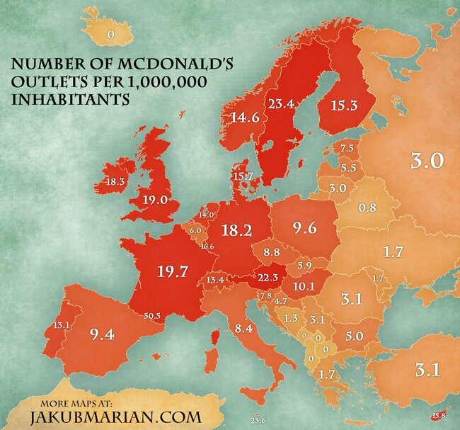 Number of McDonald's Per Million Inhabitants in Europe
