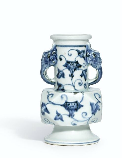 A rare blue and white facetted vase, Xuande mark and period (1426-1435)