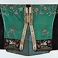 An embroidered green silk damask daoist priest's robe, chinese, early 20th century