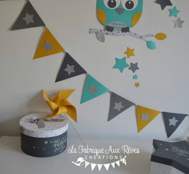 D coration chambre b b gar on turquoise cara be jaune moutarde gris anthracite et argent for Decoration chambre bebe hibou